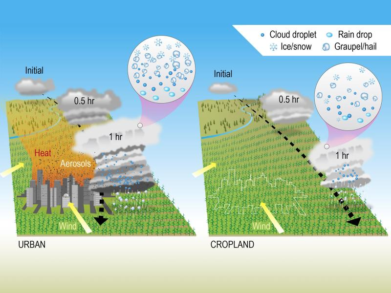 This infographic depicts how a storm propagates when near a city versus passing through cropland. (Image by Nathan Johnson | PNNL)
