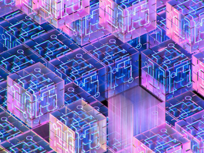 Interlocking purple squares representing a qubit's superposition.