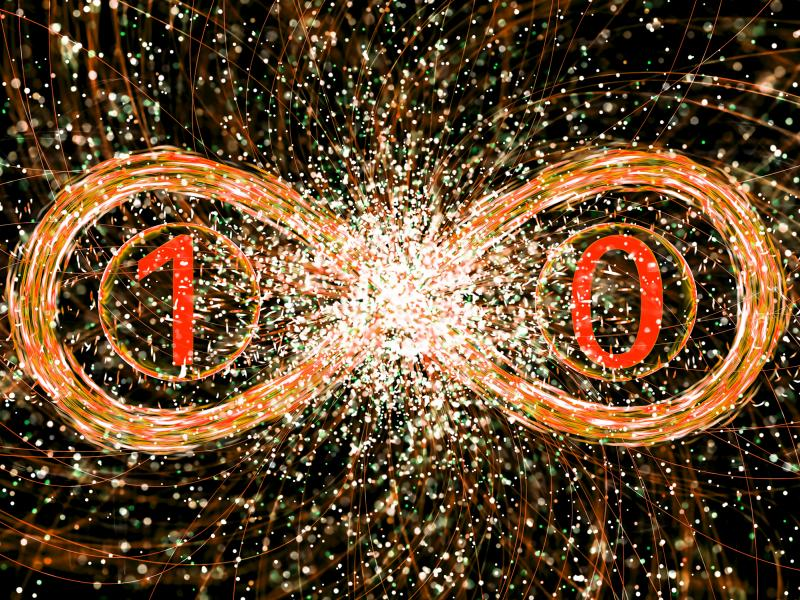 The numbers one and zero surrounded by an infinity sign.
