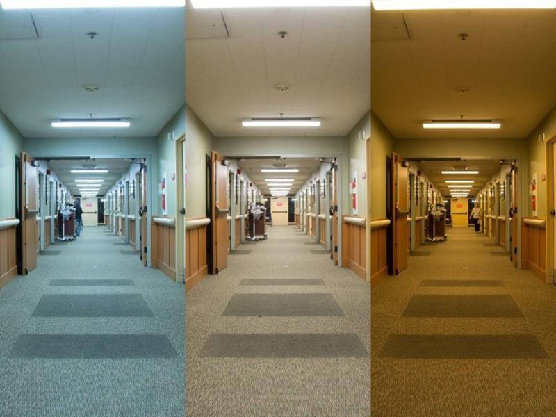 ACC corridors with different lighting conditions.