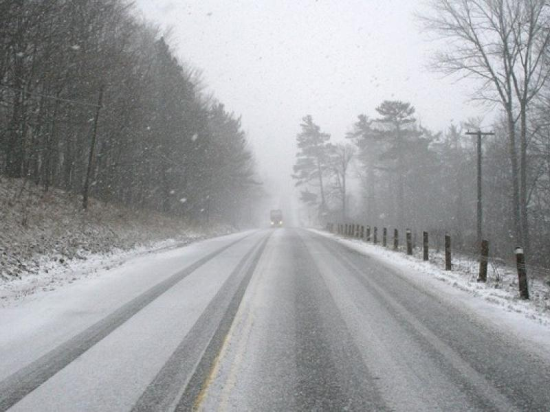 snowy conditions on road